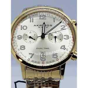 Men's Akribos XXIV AK942YG Champagne Two Time Zone Domed Crystal Bracelet Watch