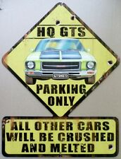 HOLDEN HQ GTS 1973 MUSCLE CAR PARKING ONLY, All Weather METAL SIGN 490 x 370