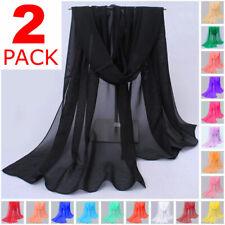 2-Pack Long Soft Wrap Lady Shawl Chiffon Silk like Scarf Scarves Fashion Women
