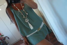 Long Bluse Top L 42 44 Neu Grün Hängerchen Häkel Spitze Tunika Blogger Shirt XL
