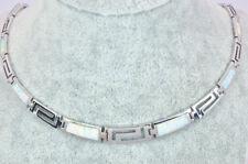White Fire Opal Geometric Choker Necklace