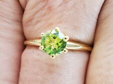 Peridot Round Cut Solitaire Ring 10kt Solid Yellow Gold