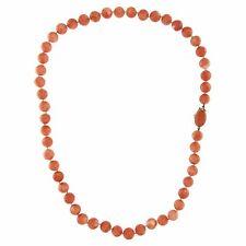 Collar Vintage ORO Amarillo 18 kt. 750 Esferas CORAL Rosa Natural 9,5 mm 67 gr