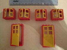 LEGO 6 grandes portes et fenêtres avec cadres et volets jaune et rouge