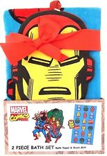 Marvel Kids Comics Heroes 2 Piece Bath Wash Set Bath Towel & Iron Man Wash Mitt