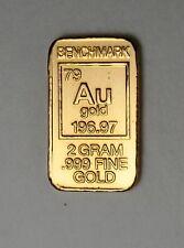 2 GRAM GOLD 24 CARAT CERTIFIED .999 FINE GOLD PURE GOLD BULLION INGOT L10b