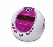 Metronic 477022 Radio-Réveil Enfant  Miss Angel MP3 USB Proje(Blanc/Rose)