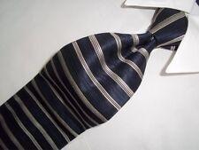 "Cardinal Federigo Blue with Gray Striped Woven Silk Tie 59"" x 4"" E"