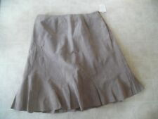 NWT COLDWATER CREEK TAUPE SUEDE FLARE SKIRT Pleated 100% Leather SZ 2X