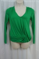 Studio M Top Sz M Lawn Green Viscose Jersey Long Sleeve Solid Casual Blouse