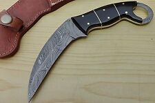 Karambit Black Horn 8.2'' Fixed Blade Hunting Knife 100% Handmade Damascus Steel