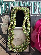 RARE Vintage Art Deco Green Gold Foil Beads Lariat Rope Sautoir Necklace. Gift