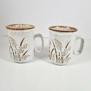 DUNOON Scotland 2 x Wheat Harvest Vintage Retro Mugs Cups Tea Coffee Set