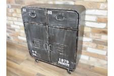 Industrial Style Distressed Black Metal Cabinet Cupboard