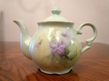 "Vintage LEFTON Hand Painted HERITAGE GREEN Violets Pattern 5"" Teapot Signed"