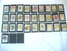 More details for silk tumac flowers cigarette cards - roses - birds - full set of 25.