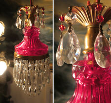 Vintage ruby beaded Lady cupcake glass crystal Brass SWAG lamp chandelier light