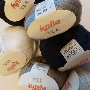 Knitting Yarn ~ Katia Tul -  cotton rich tape yarn for ruffle scarf - 50g ball