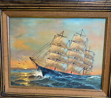 PRESTON WILLIS CLIPPER SHIP SunSetOIL ON CANVAS SEASCAPE PAINTING 24x21 Vintage