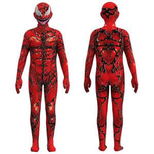 New Venom 2 Carnage Jumpsuit Spider-man Cosplay Costume Halloween for Kids