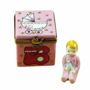 PINK BABY CUBE WITH BABY France Limoges Boxes Snuff Trinket Box NEW French