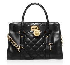 Michael Kors Hamilton Quilt EW Satchel Handbag Black  Leather Gold Chain $348