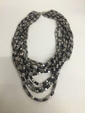 Fashion Jewelry Name Brand Multi strand Silver & Grey Beaded Necklace  NEW