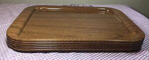 "Set of 6 CLEAN Vintage Wood Grain Metal Lap TV Trays: 15 X 11"" + 6 Doilies #6081"