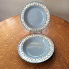 Wedgwood TWO Embossed Queensware cream on lavender smooth edge soup bowls