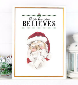 CHRISTMAS Print Santa Claus PICTURE A4 TIS THE SEASON Colour XMAS WALL ART