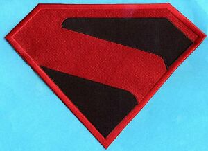 """7"""" x 10"""" Large Red & Black Fully Embroidered Superman Kingdom Come Chest Patch"""