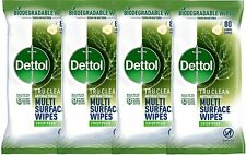More details for dettol tru clean antibacterial multi surface wipes crisp pear 4 x 80 wipes