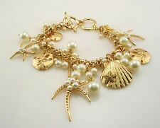 "Joan Rivers  AdjustableFaux Pearl  Star Fish  Toggle Bracelet  gold 7 1/2""-8"""