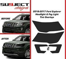 16-17 Ford Explorer Headlight & fog tint kit front cover vinyl overlays smoked