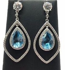 Sterling Silver Pear Blue Aquamarine Double CZ Halo Drop Dangle Post Earrings