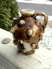 Rare Miniature Jug Large Hobnailing Brown Drip Glaze With Gold Unusual Look!
