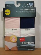 4 Pr Hanes Premium Pure Comfort Soft Cotton Hipster, Blue / Pink, Size 8
