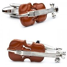 Brown Violin Cufflinks Music Musician Instrument Harmony Party Gift Band
