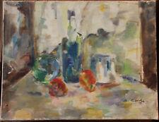 CONCHE Suzanne - Huile sur toile nature morte aux pommes oil painting Cézanne
