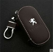 Brown Genuine Leather  Car Key Holder Keychain Ring Case Bag For Peugeot