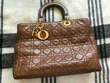 Authentic vintage Christian Dior lambskin cannage lady dior large brown bag hand