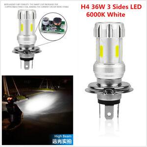 3Side Super Bright H4 LED Bulb 36W LED Motorcycle Headlight COB 6000K White Lamp