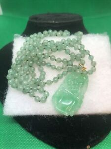 "Beautiful Genuine Chinese Green Jade Beads 34"" Necklace & Pendant"