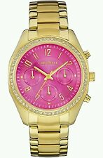 CARAVELLE 44L168 Ladies' Melissa Watch Gold Tone Pink Dial Chronograph UK SELLER