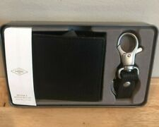 MENS FOSSIL BLACK BIFOLD WALLET AND KEYCHAIN SET GENUINE LEATHER BRAND NEW IN TI