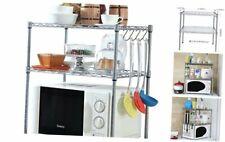 Kitchen Microwave Oven Rack Shelving Unit, 2-Tier Adjustable Carbon Steel Stora