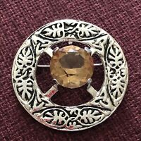 1960s Scottish Brooch Hamish Dawson Bowman Iona Citrine Glass Shawl Plaid Pin