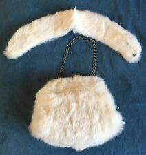 Vintage 50s Rabbit Fur White Cream Purse Collar Set Gold Muff Pin Up Rare SALE
