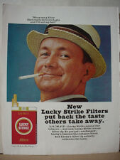 1965 Lucky Strike Cigarette Man eats Straw Hat Vintage Print Ad 10342