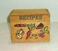 Vitnage Wooden Recipe Box Hand Painted Veggies